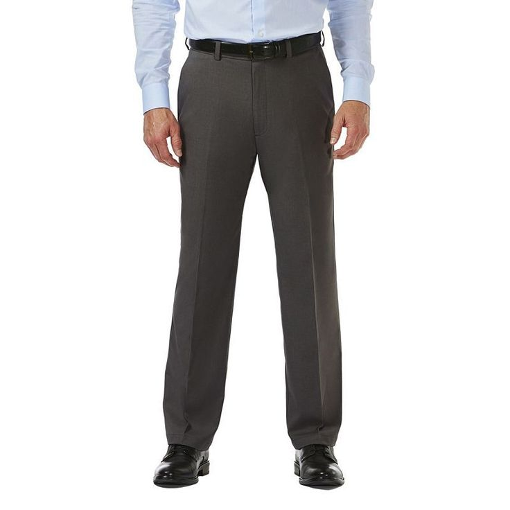 Big & Tall Haggar® Cool 18® PRO Classic-Fit Wrinkle-Free Flat-Front Expandable Waist Pants, Grey (Charcoal)