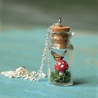 Terrarium Jewelry -reminds me of Alice in Wonderland love it! must try! find mini bottles, ring shanks, ball chains, memory frames at #ecrafty www.eCrafty.com