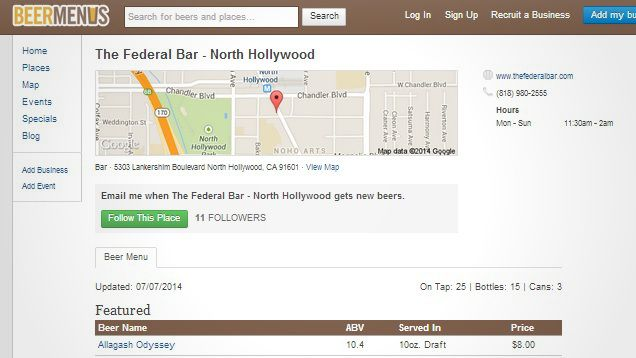 Beer Menus Knows What\u0027s on Tap at Local Bars, and for How Much