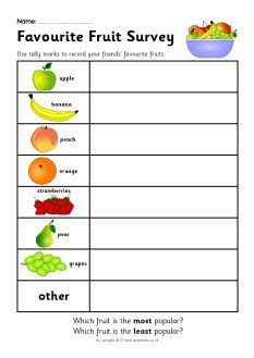 favourite fruit survey worksheet sb7520 sparklebox school pinterest worksheets. Black Bedroom Furniture Sets. Home Design Ideas
