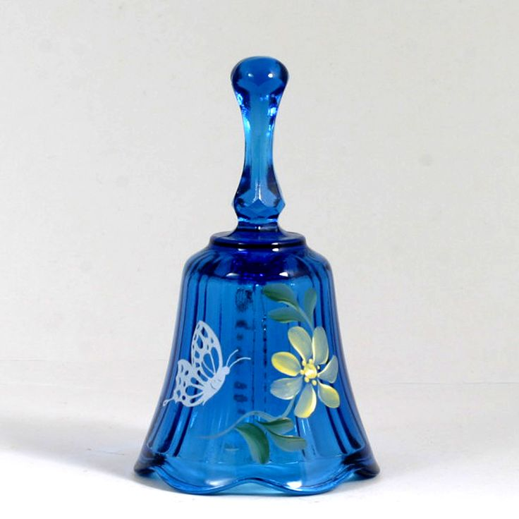 Blue Fenton Art Glass Bell Hand Painted Butterfly C Smith Vintage #Fenton #Vintage #Glass