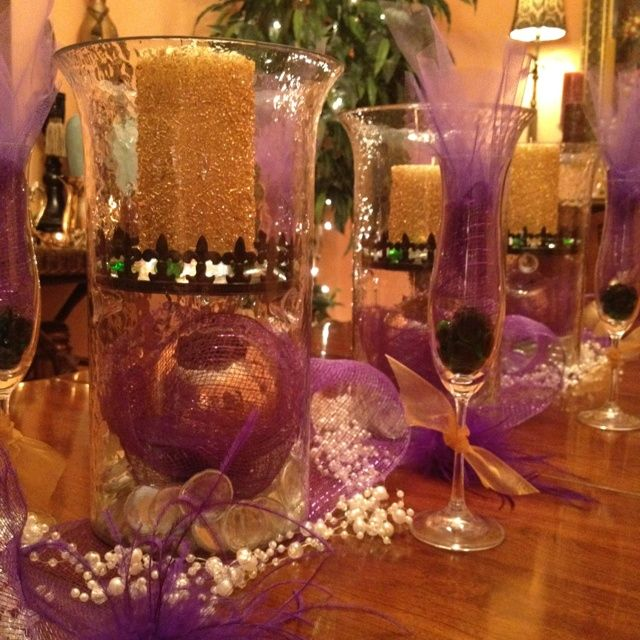 Elegant Mardi Gras Table Centerpieces Via Karen Eshliman