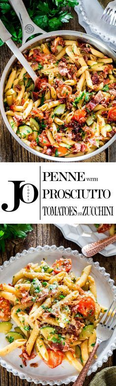 This Penne with Prosciutto, Tomatoes and Zucchini can be on your dinner table in 30 minutes. Crispy bits of prosciutto, zucchini and blistered cherry tomatoes is what makes this penne incredibly delicious.