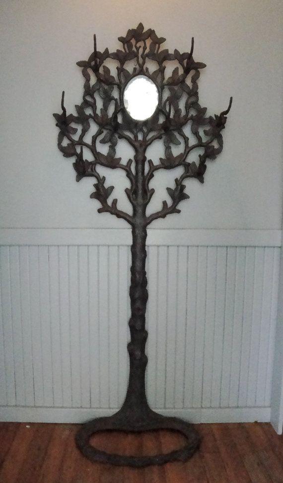 Antique Cast Iron Tree Coat Rack & Mirror