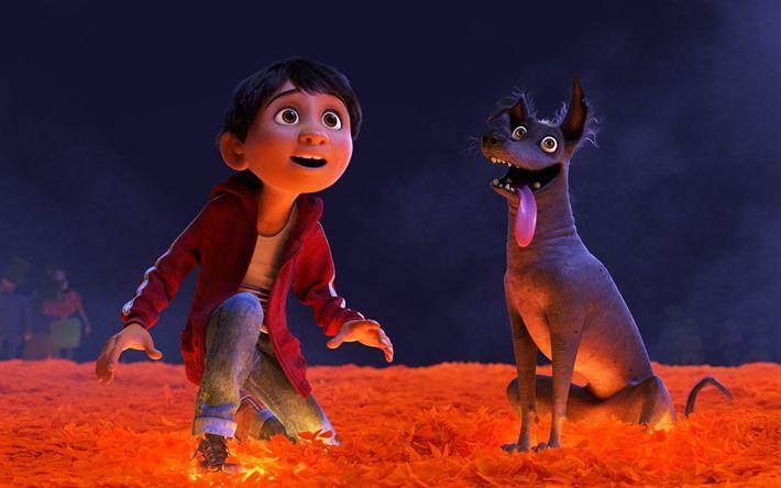 Download wallpapers Miguel, Dante, 4k, 3d-animation, 2017 Movie, Coco, Pixar