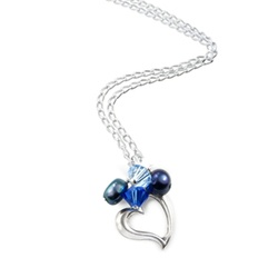 silver heart necklace with blue pearls and swarovski crystals £27