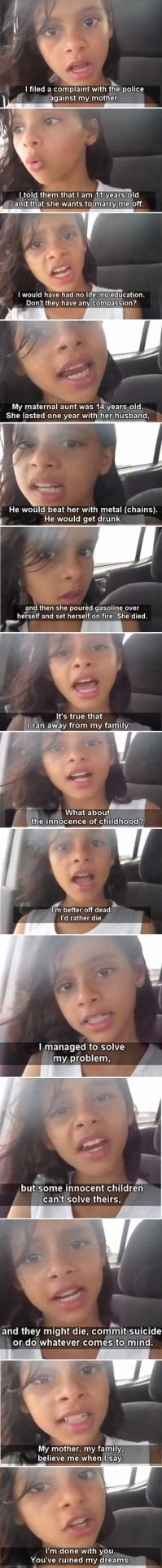 """11 year old Yemeni Girl, escapes arranged marriage. My hearts just simply cringe at the thought that many girls out there have the same fate and cannot do anything about it. """""""