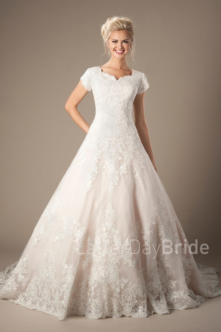 176 best in stock bridal gowns images on pinterest short for Lds wedding dresses lace