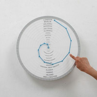 This innovative clock comes with a single hand that indicates time in different places around the world.