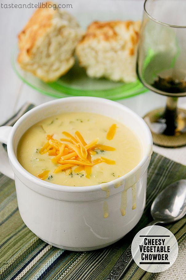 Cheesy Vegetable Chowder   www.tasteandtellblog.com