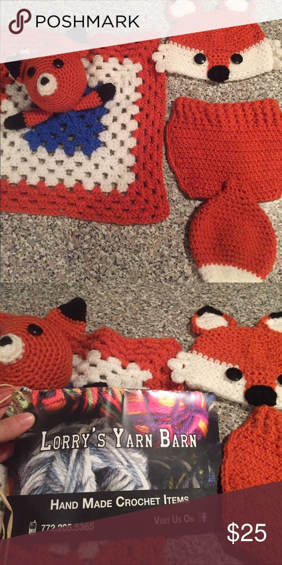 Crochet fox baby outfit Super cute crochet baby fox outfit will fit newborn through 10 months. Comes with hat, bottom with cute fox tail and character blanket. Perfect for themed photo shoots. Matching Sets