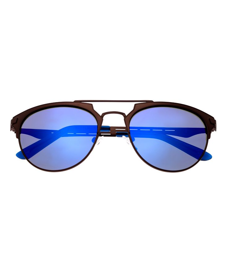 Brown & Blue Hercules Titanium Browline Sunglasses