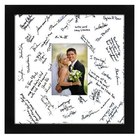 14x14 Black Wedding Picture Frame - Matted to Fit Pictures 5x7 Inches or 14x14 Without Mat - Ready-to-hang