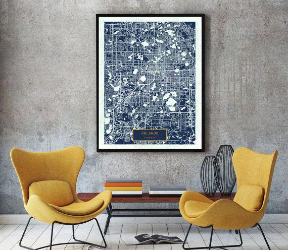 ORLANDO Florida City Map Orlando Florida Art by JackTravelMap