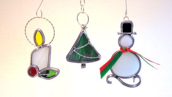 Christmas Ornament Set van drie ~ Holly kaars, boom, & sneeuwpop