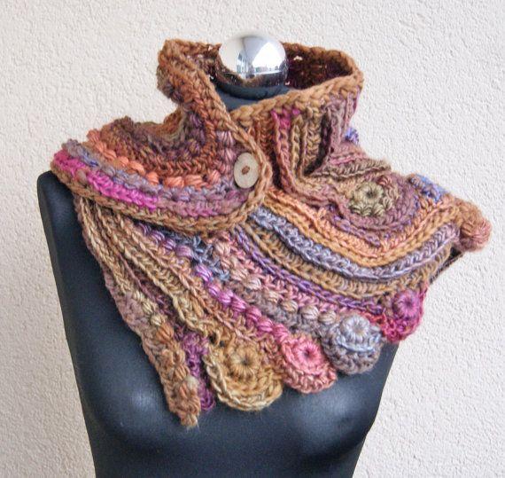Handmade freeform crochet  scarf , shawl, stole, collar, cape  Peru, Mexico, autumn, winter