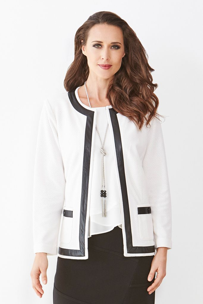 KNIT JACKET WITH PLEATHER TRIM This Liz Jordan jacket has a smart, structured cut crafted from a luxurious textured knit fabric. Leather-look trim brings an edgy touch, while the rounded neckline & top hook & eye fastening at the neck make it perfect for layering. Wear yours over everything from evening ensembles to workwear.