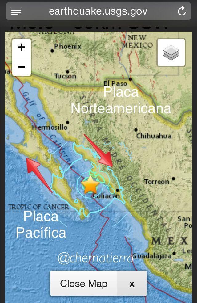 Se activa Falla de San Andrés El sismo en el Gfo de California M6.6 por fricción entre Placa Norteamérica vs Pacífica
