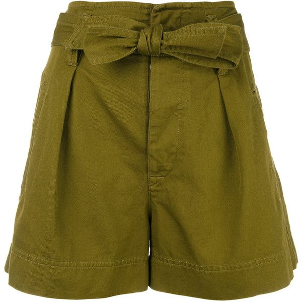 Isabel Marant Étoile high-waisted shorts (€205) ❤ liked on Polyvore featuring shorts, green, high-waisted shorts, high-rise shorts, green shorts, high rise shorts and high waisted shorts