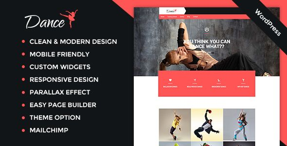 DANCE theme is a single page multi-purpose theme. It is easy to use and understand. Set the website on single click. It provides maximum customization flexibility to help you create a dancing school or dance website, dance blog as well as any other fitness website, like salsa dancing website or ballet dancing studio website. #dance #academy #studio #theme #blog #website