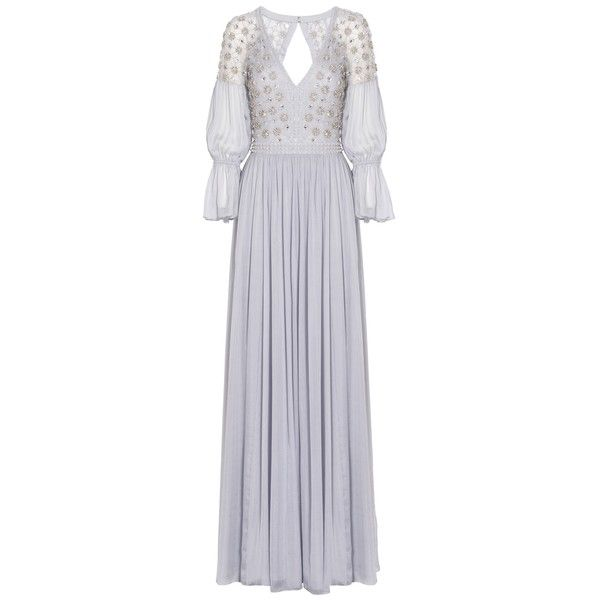 Temperley London Crossbone Lattice Dress (14.655 RON) ❤ liked on Polyvore featuring dresses, grey, special occasion dresses, grey evening dresses, grey dress, embroidered dress and gray dress