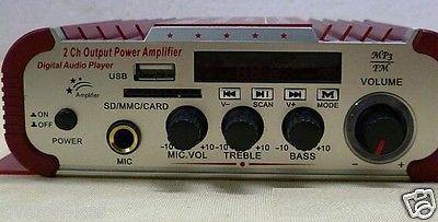 Mini Amplificateur Audio Voiture, Moto USB SD FM st�r�o 3 en 1 Kentiger HY600