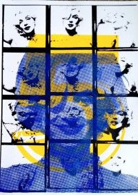"""""""Marilyn 5"""" in Yellow; 50 x 70 cm; £100 http://traffordparsons.com/products-pagek-glitter-signed-limited-edition-of-100/"""