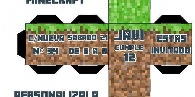 Invitación de cumpleaños Minecraft