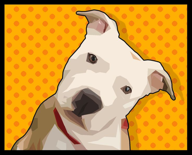 Pretty Pit Bull with Comic-Book Dots Background