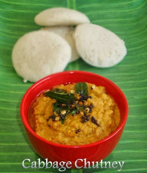 Poornima's Cook Book: Cabbage Chutney / Side Dish For Idli / Dosa