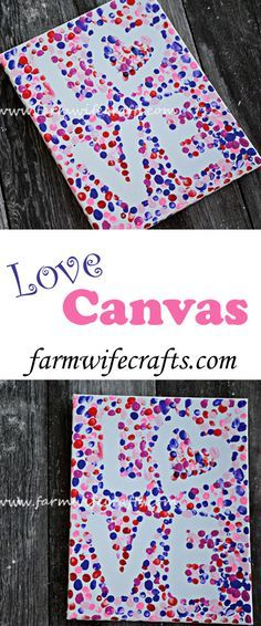 DIY Craft: An easy to make Valentine's Craft, this Valentines Day fingerprint love canvas is perfect to display year after year.