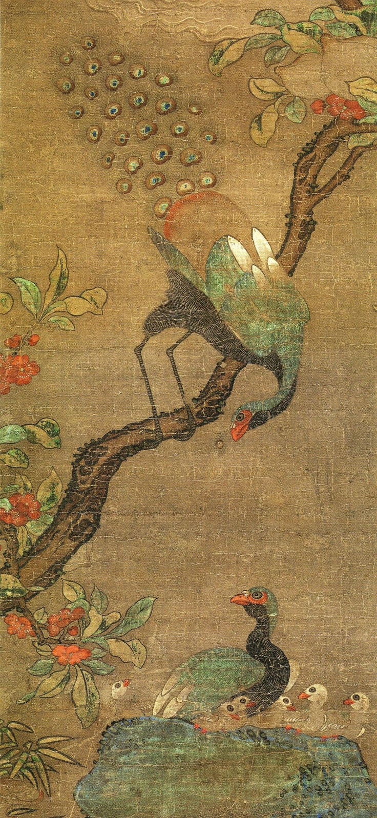 The peacock(공작) was considered a very noble, beautiful and good sign(吉祥). The peacock was a symbol of glamor, nobility and high office, because he got a gorgeous appearance.