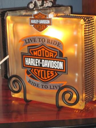 glass block crafts harley davidson | Harley-Davidson Glass Block Lamps (Flint)-1