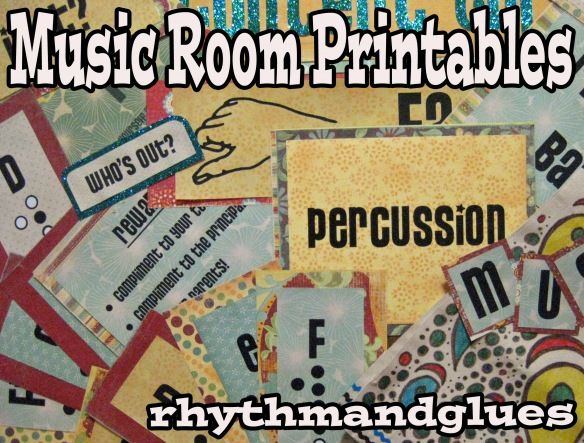 Music room-inspired free printables: Created for dressing up a music classroom, but I'm dying to use them to scrapbook those hundreds of pics from high school band and choir!