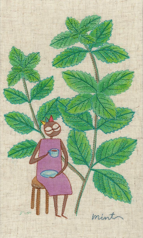 """herb no.8 """"mint"""" needlework illustration Ⓒ Nagako Ono HAPPa_Ya #embroidery #herbs"""