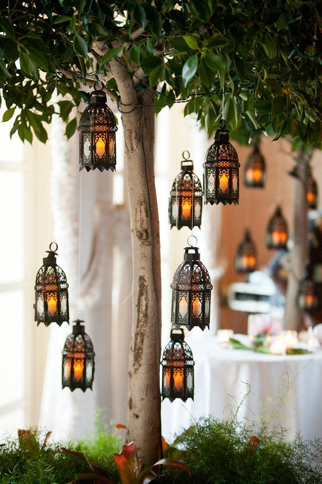 moroccan lanterns only replace lights with solar lights! Hang on tree