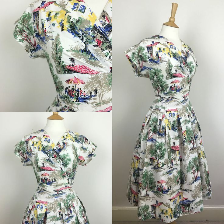 Vintage 1950s Picture Scene Swing Dress Rockabilly Sailor Cocktail 50s Pin Up 12