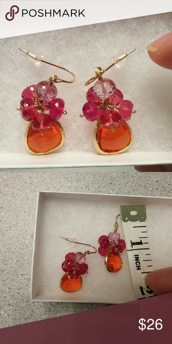 Handmade gorgeous glass earrings. These are a little over an inch from top of Shepards hook.  Never been worn.  Beautiful colors of Orange, tourmaline pink & light pink glass beads.  The beads are cut with special geometric cut to add sparkle.  Fun & festive with movement, must have!  😃👍  (gold wire). Etsy Jewelry Earrings