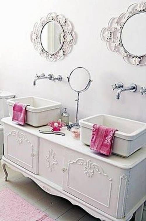 """I love this!! <3 I would put a soft Mint Green or a Paprika (Bold) color on the walls and Beaded  """"White"""" Wainscoting on the bottom half of the wall to give a back splash to the double sinks. But over-all this is beautiful!! <3"""