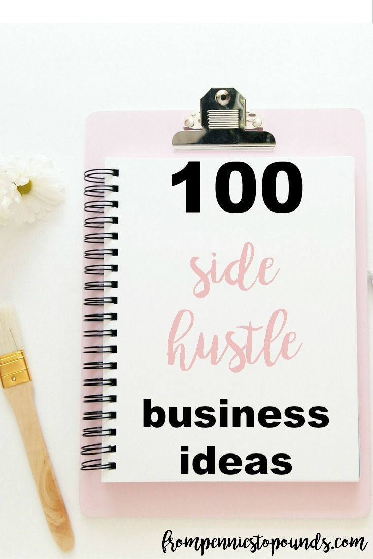 100 money making side hustle business ideas! Stuck for a business idea that will earn you extra money? Here's 100 for you! Mainly work from home jobs that you can do on the side. http://www.frompenniestopounds.com/list-100-money-making-side-hustle-business-ideas/