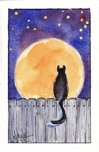 How to Paint the Harvest Moon with Cat - Let's Paint Nature!