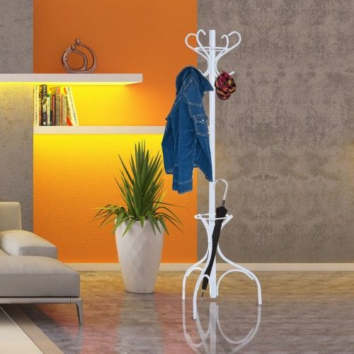 HOMCOM Standing Coat Rack Hat Hanger Hooks Umbrella Holder with Metal Base|aosom.co.uk