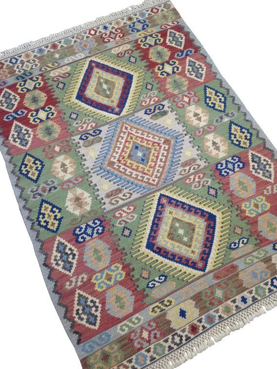 bohemian rug vintage kilim with boho chic design and pastel green red blue bohemian rug on boho chic kitchen rugs id=51890