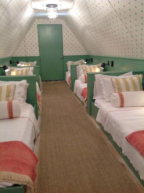 sleepover room in the attic! LOVE this idea..