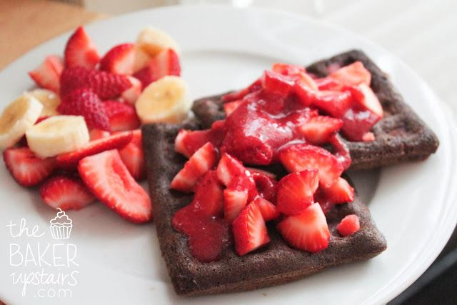 the baker upstairs: double chocolate waffles with strawberry sauce