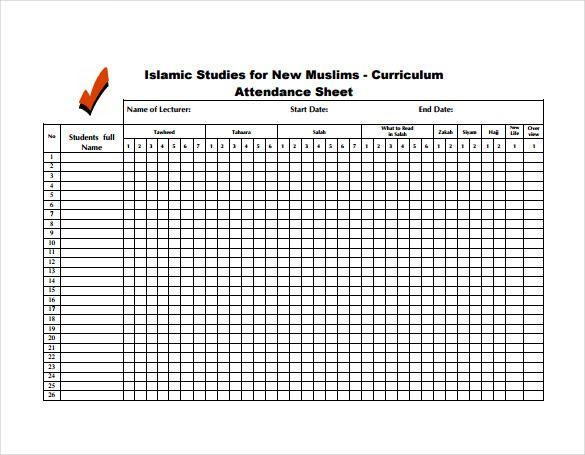 Attendance Sheet Template Excel Attendance Sheet Attendance