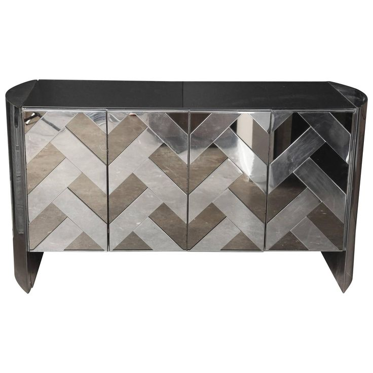 Nice Mid Century Modern Ello Chrome, Smoked Glass And Mirror Credenza / Sideboard