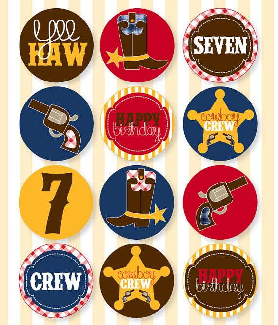 Gingham Cowboy Party PRINTABLE Cupcake Toppers by Love The Day