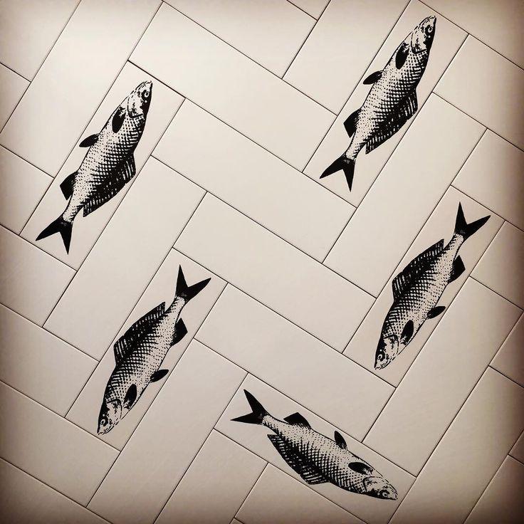 We're playing around with a #herringbonefloor 🐟💙 #frankiethefish #arttiles #takingitliterally