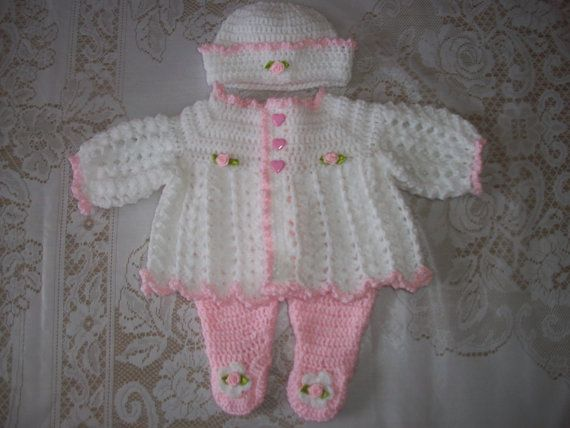 Crochet Baby Girl Sweater Set Layette And Leggings Perfect ...